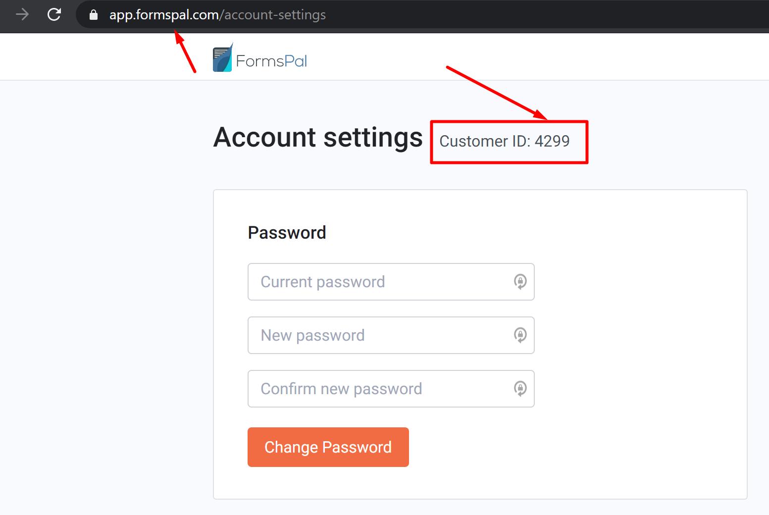 formspal account settings screenshot