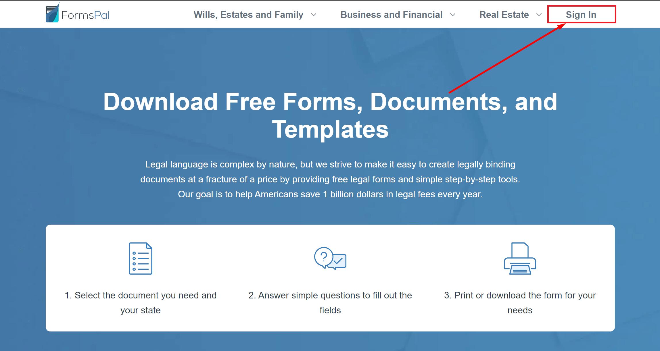 formspal sign in screenshot